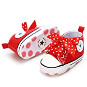 BENHERO Baby Girls Boys Canvas Shoes Toddler Infant First Walker Soft Sole High-Top Ankle Sneakers Newborn Crib Shoes (6-12 Months M US Infant, C-Red Dot)