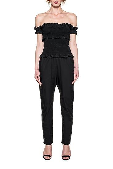 Amazon.com: PINKO WOMEN'S 1W10YP6554Z99 BLACK COTTON JUMPSUIT ...