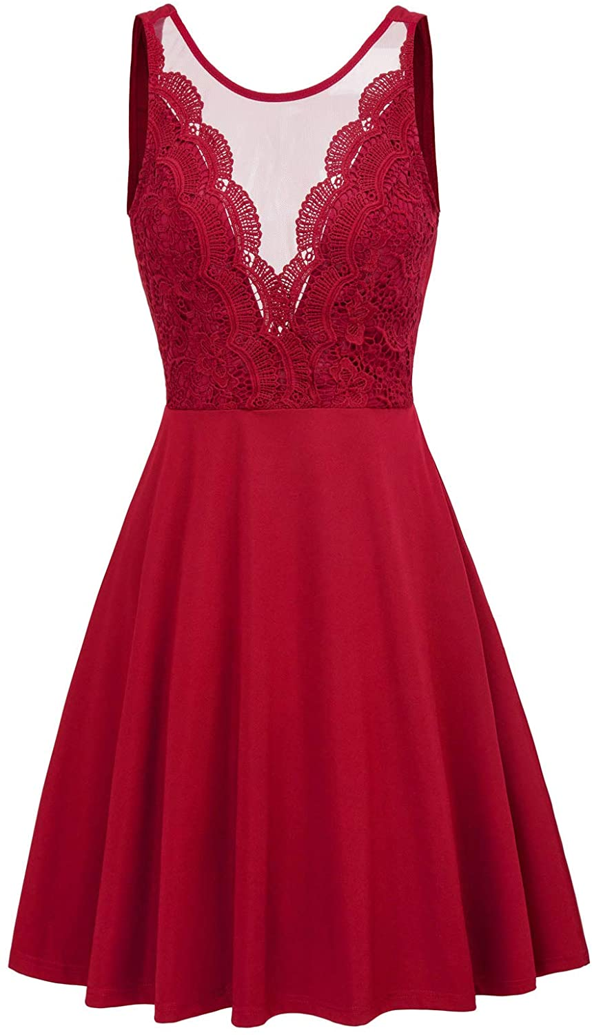 GRACE KARIN Women 1950s Lace Patchwork Fancy Party Dress Sleeveless A-Line Flared Dance Cocktail Dress