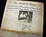 Russian SPUTNIK 1 Artificial Satellite Success Space Race Begins 1957 Newspaper THE HARTFORD TIMES, October 5, 1957