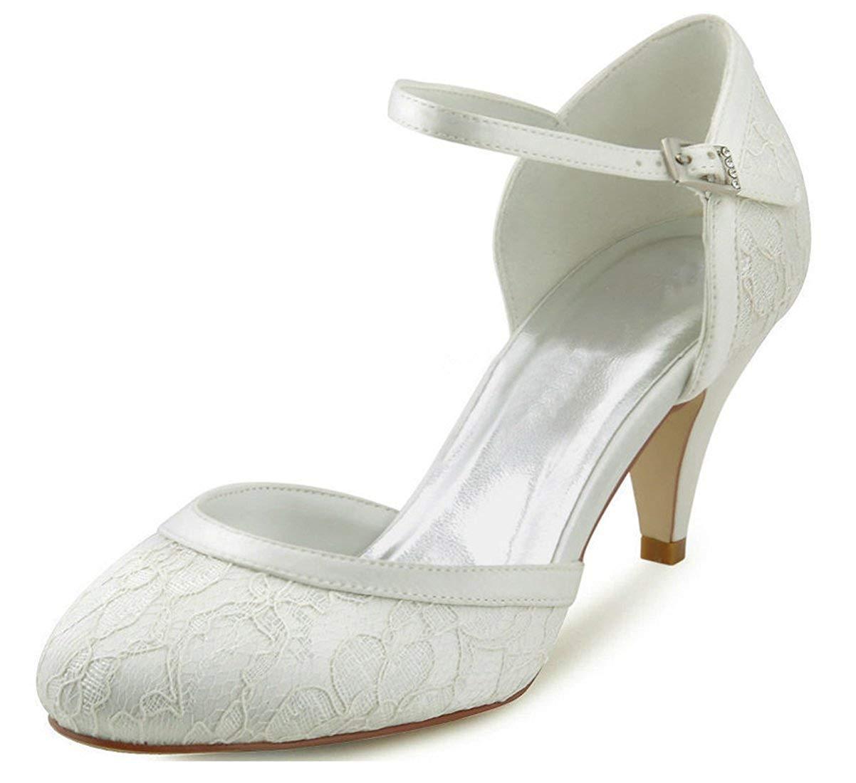 Qiusa Damen Mandel Zehe handgemachte Retro Spitze Braut Braut Braut Hochzeit Abendschuhe (Farbe   Ivory-5cm Heel Größe   5.5 UK) 8bed67