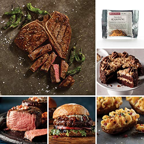 Omaha Steaks Father's Day T-Bone Gift (14-Piece with T-Bone Steaks, Filet Mignons, Gourmet Burgers, Stuffed Baked Potatoes, Signature Seasoning Packet, and German Chocolate Cake) ()