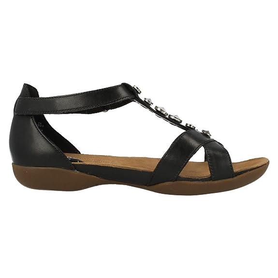 a683d030de4 Clarks Ladies T-Bar Flat Sandals Raffi Scent Black Leather Size 5E   Amazon.co.uk  Shoes   Bags