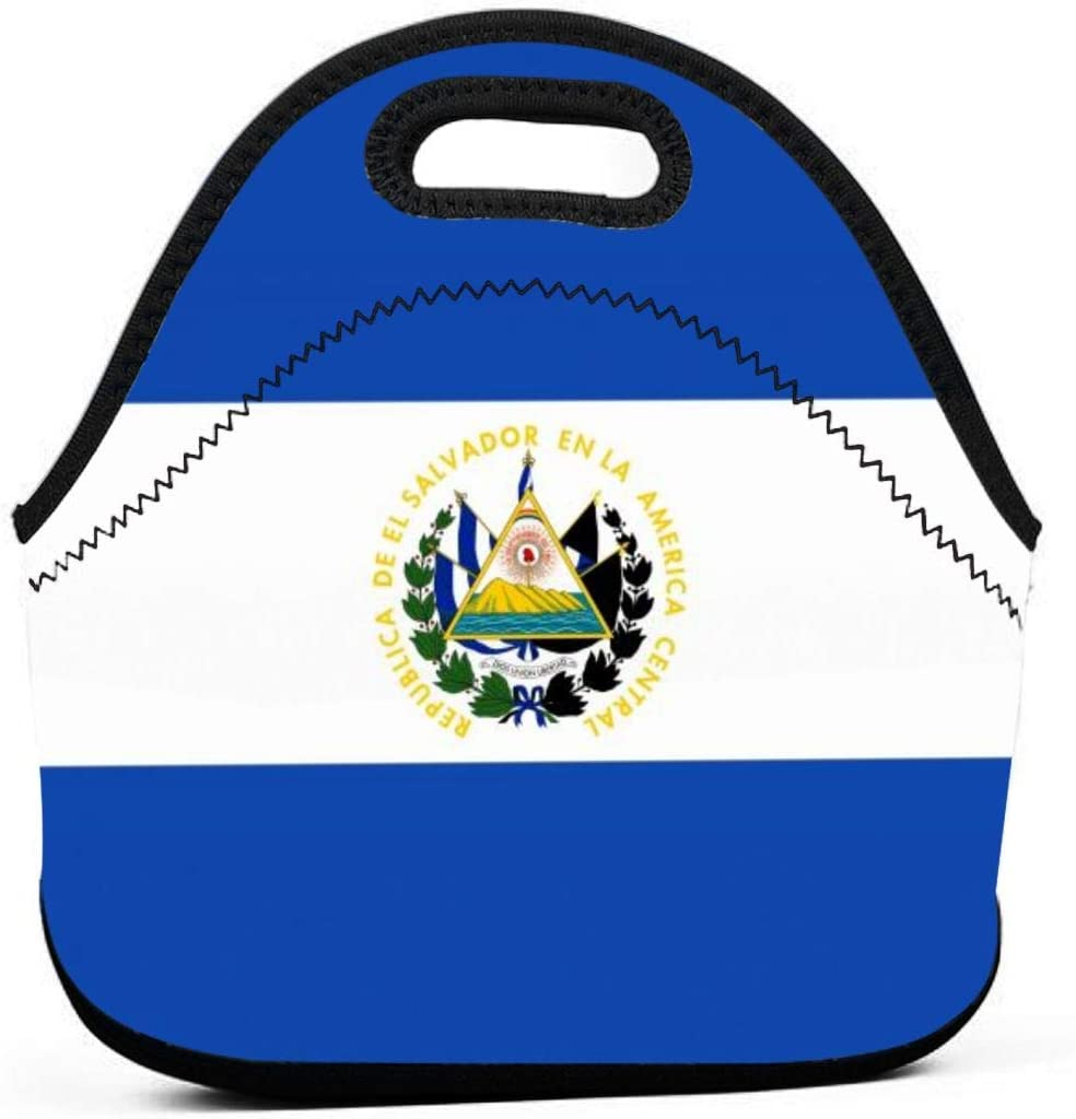 El Salvador Flag Insulated Neoprene Lunch Bag Tote Handbag lunchbox Food Container Gourmet Tote Cooler warm Pouch For School work Office