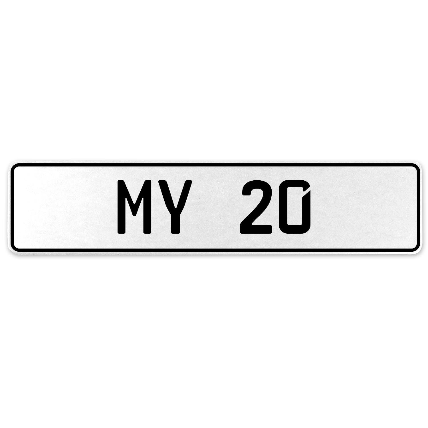 Vintage Parts 555112 My 20 White Stamped Aluminum European License Plate