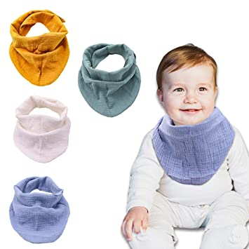 Organic Cotton Soft /& Absorbent Muslin Teething Bibs for Drooling and Teething Bandana Bibs for Baby Boy Muslin Cotton Bandana Bibs for Baby