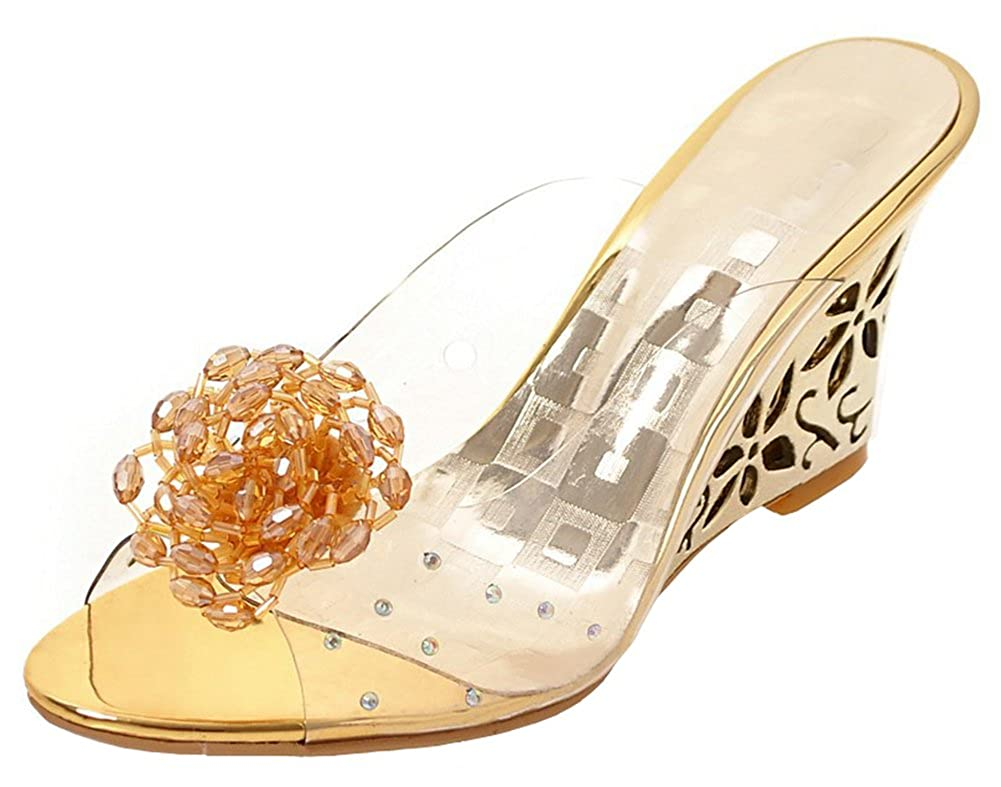 Women's Clear Rhinestone and Gold Bead Flower Wedge Slide Sandals - DeluxeAdultCostumes.com