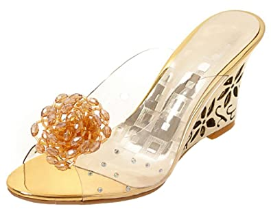 87223785c223 Aisun Women s Rhinestone Flower Dressy Peep Toe Jelly Clear High Heel Wedge  Slide Sandals Shoes (