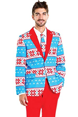85eb706e101 Tipsy Elves Men s Blizzard Baller Ugly Christmas Sweater Suit - Red and  Blue Fair Isle Xmas