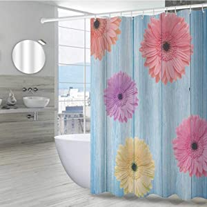 "Rustic Cute Shower Curtain 60"" W x 72"" L, Calendula Florets Plants Wooden Rustic Board Spring Season Inspired Nature Display Heavyweight Fabric Bathroom Curtain, Multicolor"