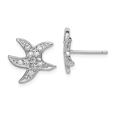 91ff6c5fd 925 Sterling Silver Cubic Zirconia Cz Starfish Post Stud Ball Button  Earrings Animal Sea Life Fine