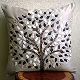 """Luxury Grey Pillows Cover, Pearls & Beaded Tree Pillows Cover, 18""""x18"""" Pillow Case, Square Silk Pillows Covers for Couch, Floral Modern Throw Pillows Cover - Gray Hope Tree"""