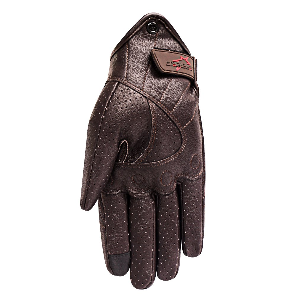 Full Finger Brown Motorcycle Motorbike Gloves Hard Knuckle Touchscreen Perforated Motorcycle Riding Gloves For Men(Brown,Perforated,S)