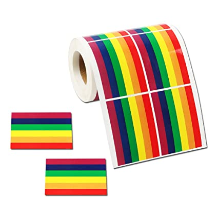 500 Rectangle Rainbow Ribbon Stickers Gay Pride 6 Colors Stripes Flag Roll Tape