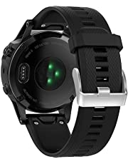 XIHAMA for Garmin Fenix 5 Watch Band, 22mm Silicone Quick Release Replacement Strap Bracelet for Forerunner 935 (Not Fit Fenix 5X 5S) (Black)