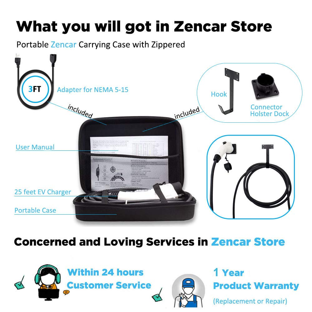 Zencar Level 2 EV Charger(100-240V,16A,25ft+3ft) Portable EVSE Home Electric Vehicle Charging Station Compatible with Chevy Volt, Nissan Leaf, Fiat, Ford Fusion (NEMA6-20 with Adapter for NEMA5-15) by Zencar (Image #7)