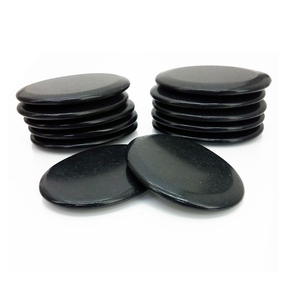 Royal Massage 12pc Medium Flat Basalt Hot Stone Set F