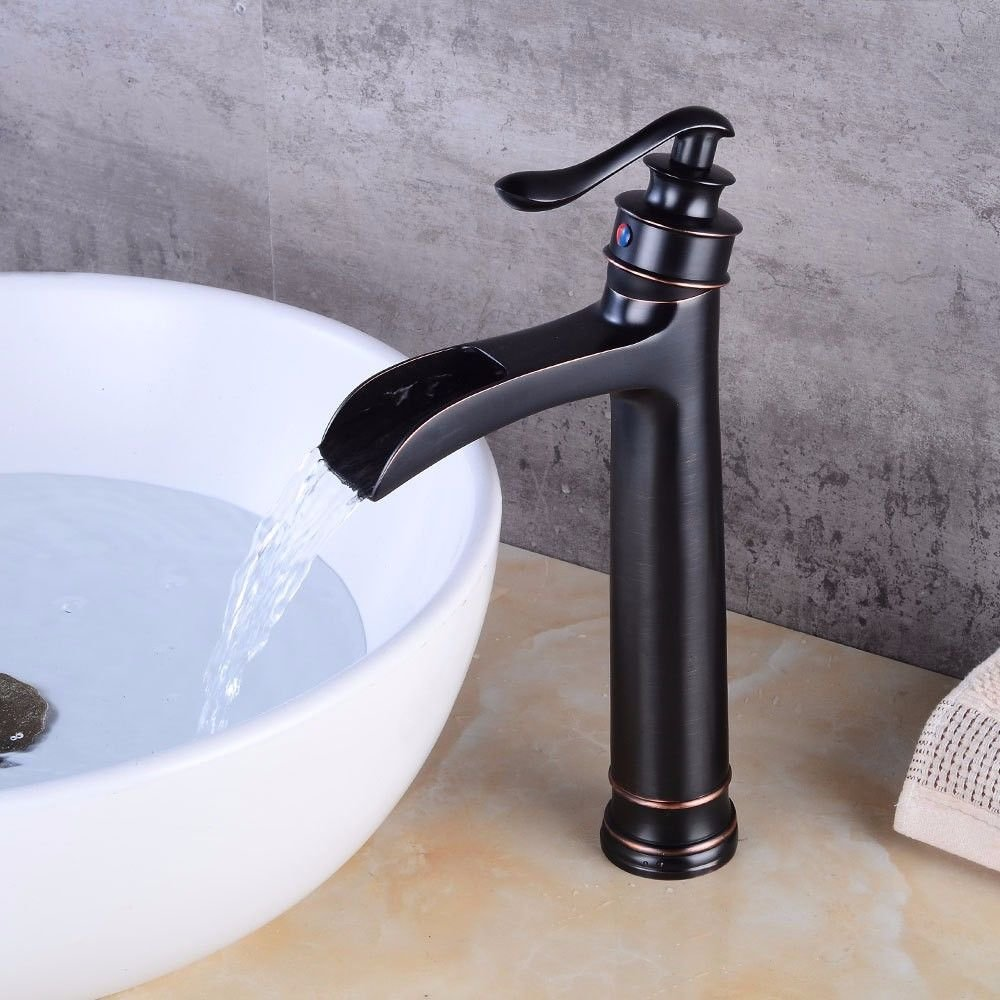 AQMMi Bathroom Sink Faucet Basin Mixer Tap Black Oil Rubbed Bronze Waterfall Hot and Cold Water Ceramic Single Hole Single Lever Basin Sink Tap Bathroom Bar Faucet