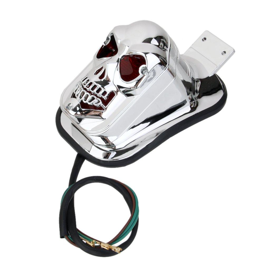 L/ámpara Luz Trasera Cola de Motocicleta Forma de cabeza Cr/áneo para Harley Yamaha Color Plata