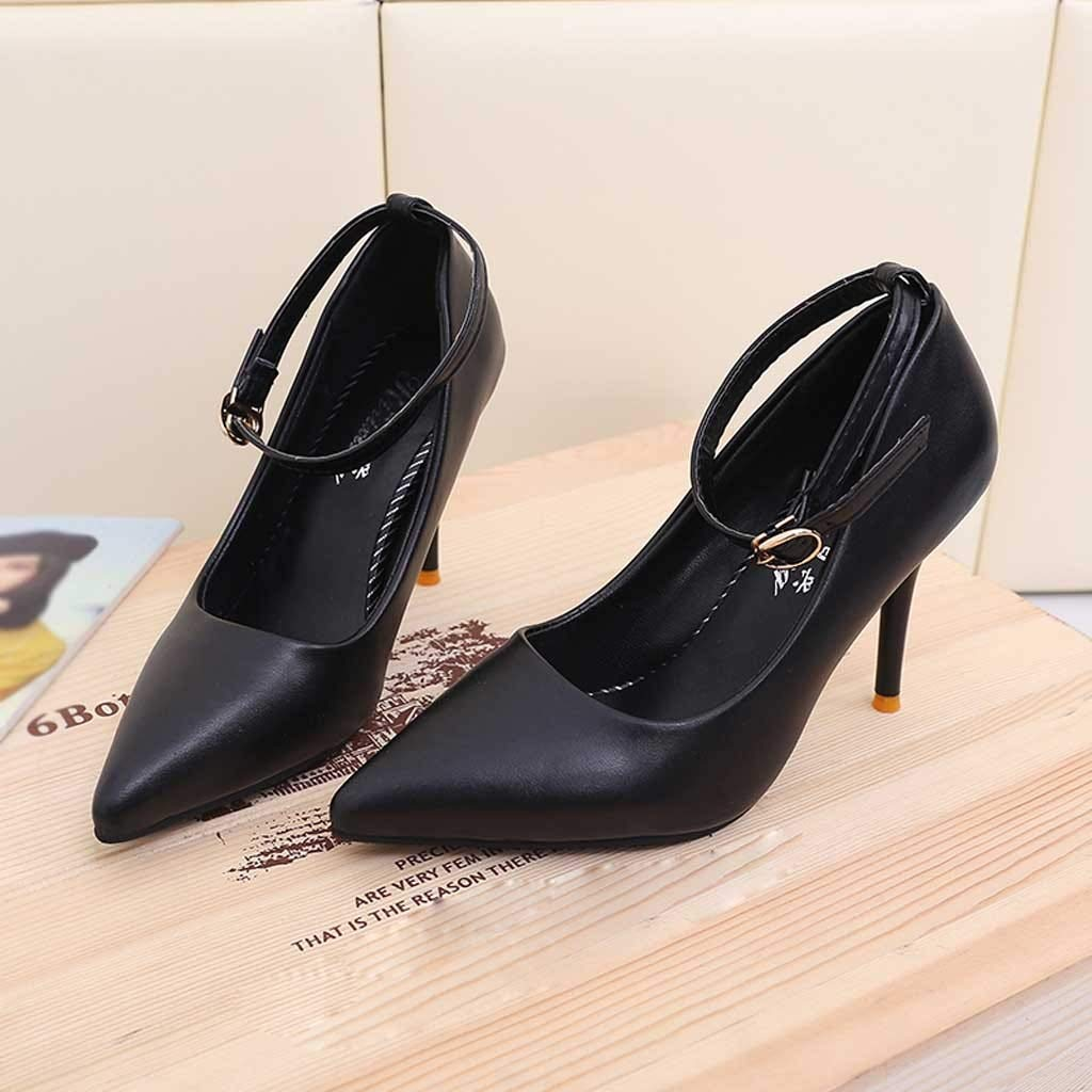 Hunzed Women【Leather Pointed High Heels】 Womens Classic Fashion Stiletto Dress Pump Shoes