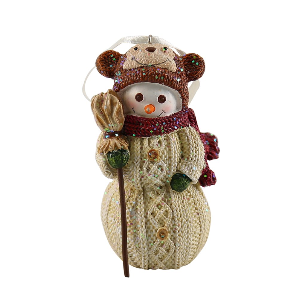 LemonGo Resin Colored Wool Effect Elk, Monkey,Owl with Hat Snowman Hanging Decoration