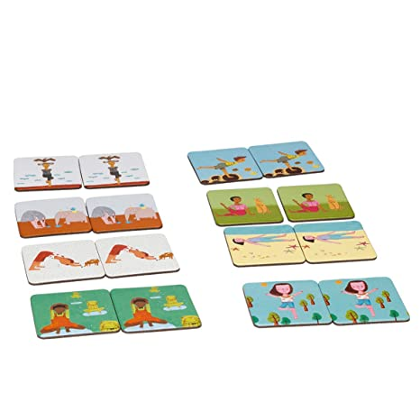 LUDILO- Memo Yogi ninos Cartas, juguemos a Hacer Familia, Juego Yoga para niños, Color Azul (YF-003)