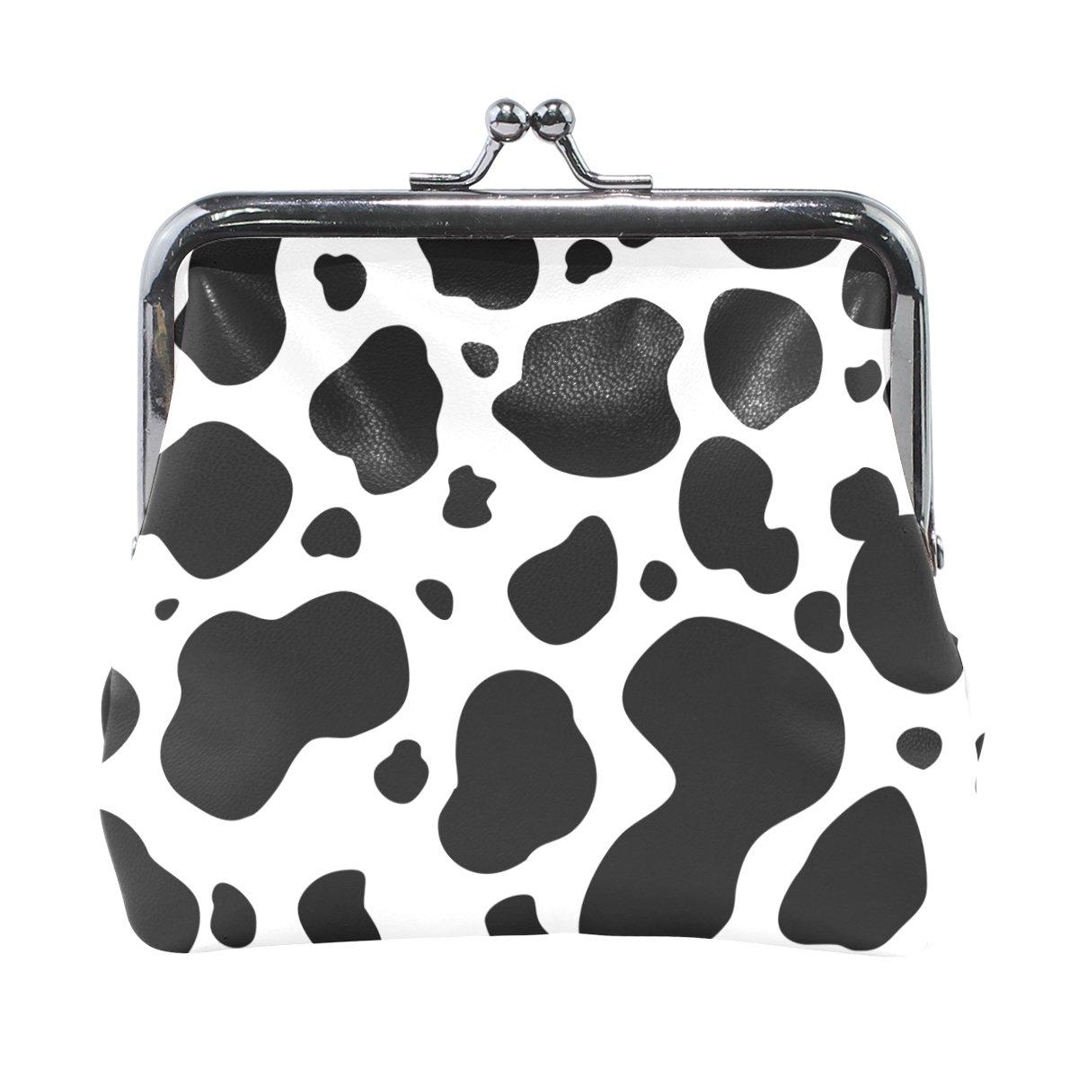Blanco y negro de piel modelo de la vaca de la moneda de cierre del embrague monedero complemento carpeta Pequeña multicolor