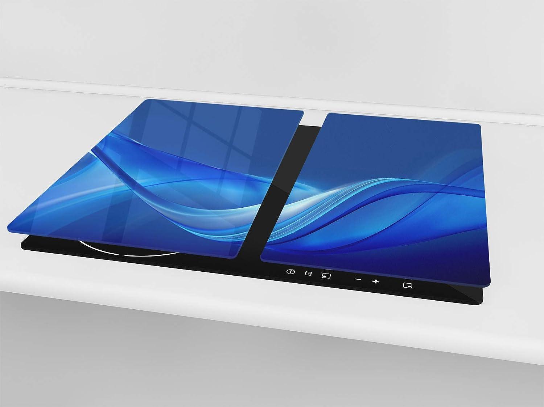60x52 cm 30x52 cm chacune Planche /à d/écouper en verre tremp/é ou DEUX PI/ÈCES Couvre-cuisini/ère et prot/ège-plain de travail en verre r/ésistant UNE PI/ÈCE ; D01D S/érie Abstract