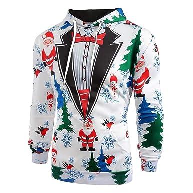 990b51eb499e0 Giulogre Noël Homme Sweat à Capuche Sweatshirt Christmas Imprimé Manches  Longues Sweatshirt de Noël Pull à Capuche  Amazon.fr  Vêtements et  accessoires