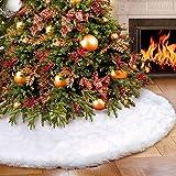 Tree Skirts - 78cm Round White Snowflake Plush Christmas Tree Skirt Base Floor Mat Cover Home Party Decoration - Deer Rose 60 15 Metallic Yarn Camo Glitter Christmas Table