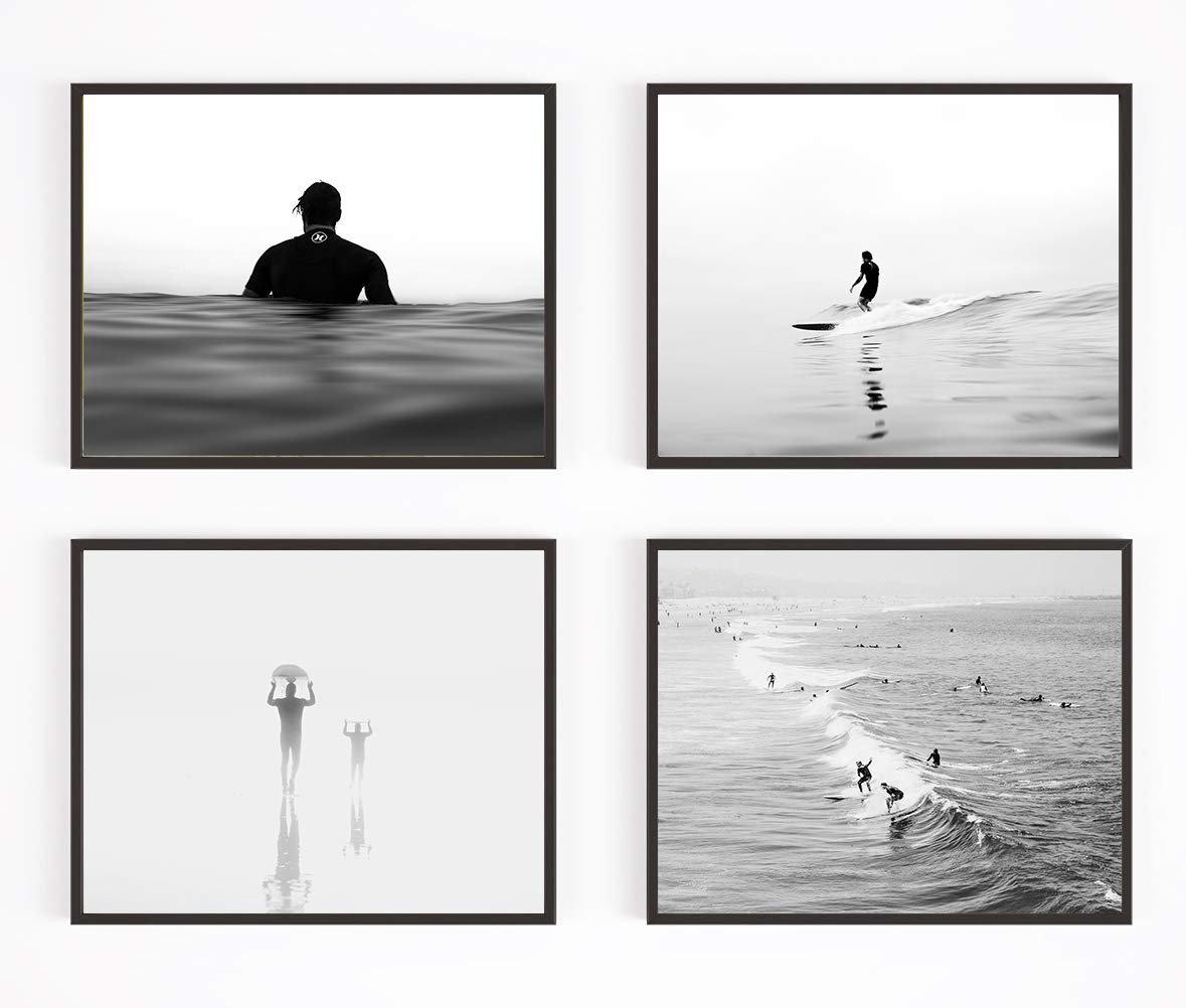 Black and white surfing photography photographic prints set of 4 unframed surf surfboard beach art decor poster sign all sizes