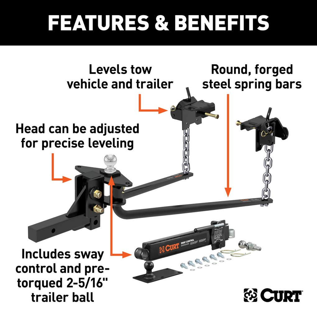2-Inch Shank CURT 17052 MV Round Bar Weight Distribution Hitch Black Up to Up to 10,000 lbs