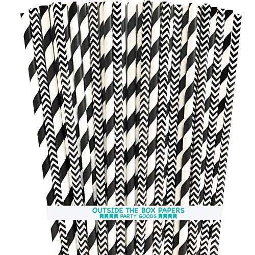 Black and White Paper Straws - Stripe and Chevron - 7.75 Inches - 50 Pack - Outside the Box Papers Brand]()