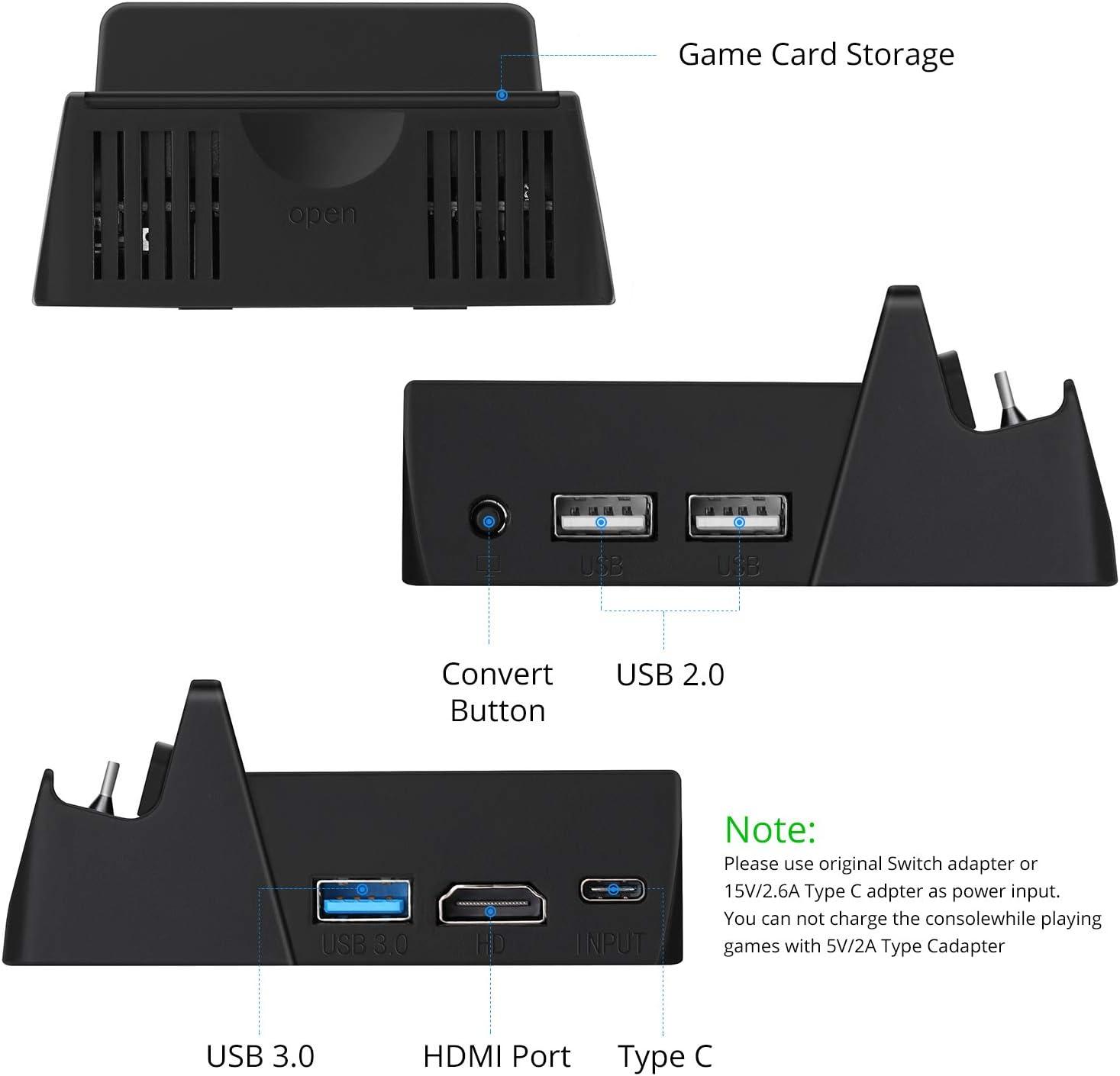 HEYSTOP Base de Carga para Nintendo Switch con Cable HDMI (Green ...
