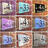 Modern House Sign Door Number Plaque/Street Glass Effect Acrylic/Pastel Colour Backs