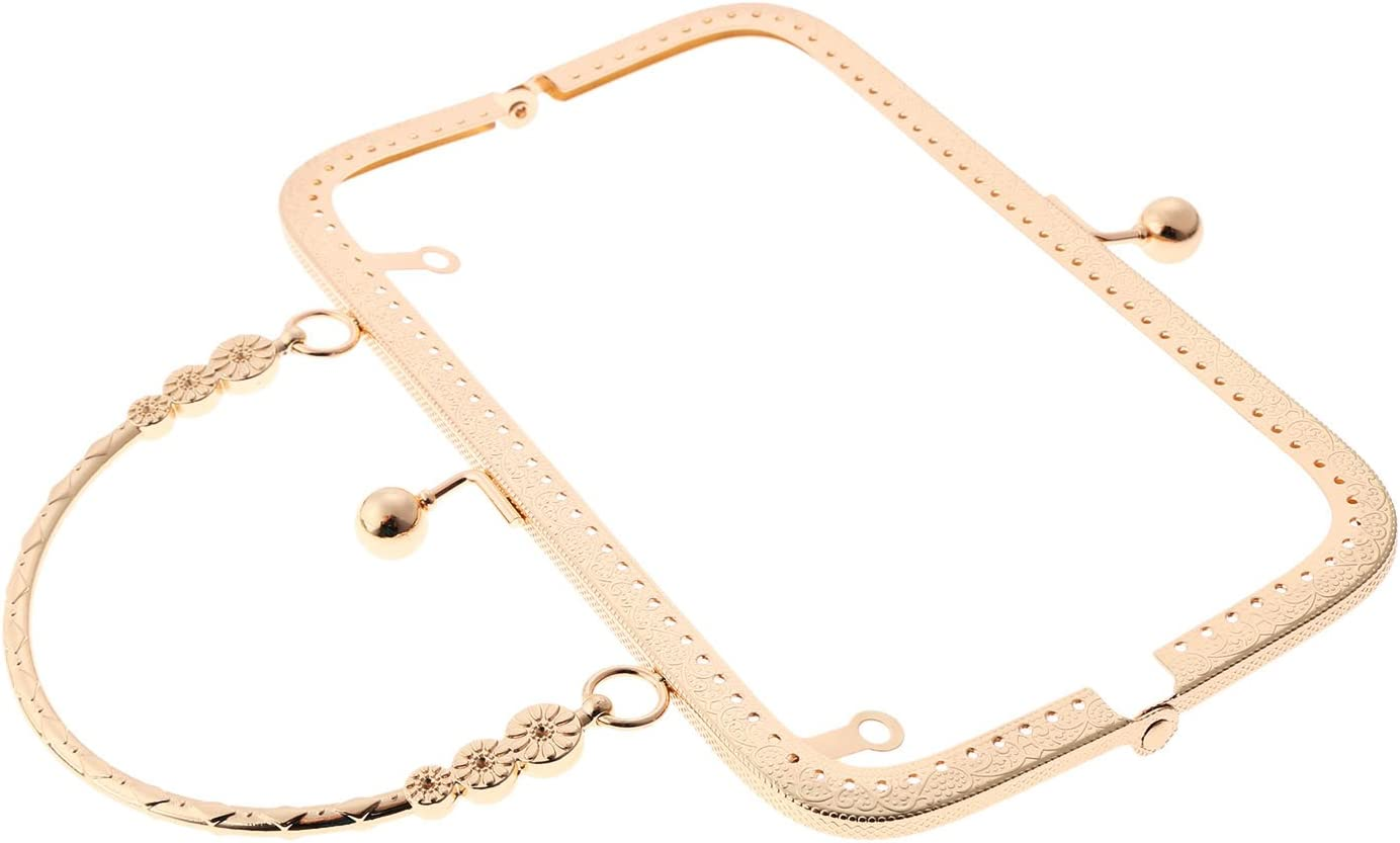1Pc Making Kiss Clasp Lock Retro Metal Purse Frame for Women Girls Clutch Leather Bag Handle Accessories Light Gold Bags Hardware 7.87 x 5.91