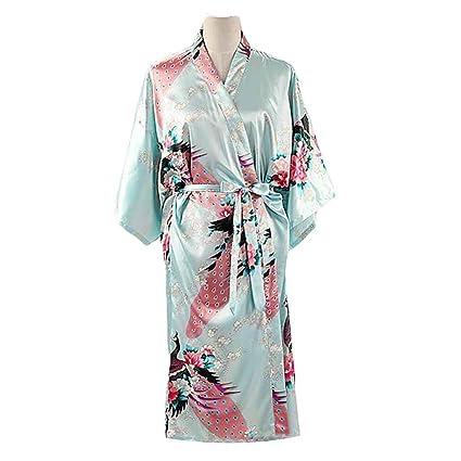 Azul Claro - Pavo Real/Flores Albornoz Largo de Mujer Bata de Kimono Pijamas de
