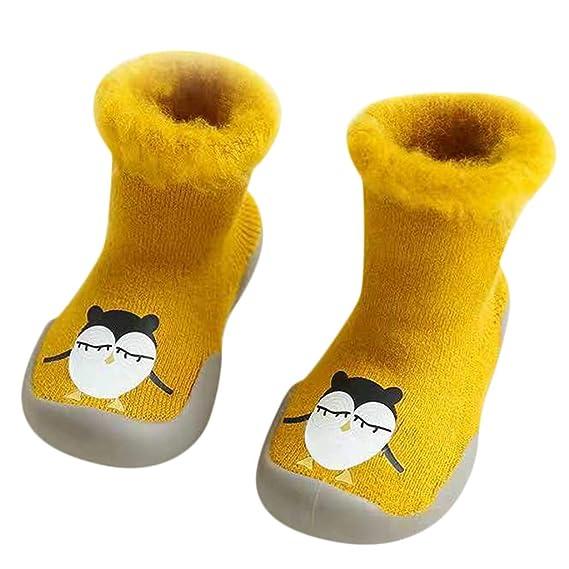 Mitlfuny Invierno Unisex Barco Calcetines de Piso Zapatos para Bebé Dibujos Animados Tubo Medio Tejer Zapatillas Suela de Goma Blanda Antideslizantes Niños ...