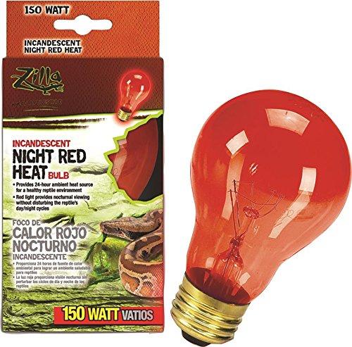 150w Red Heat Bulb (Zilla Reptile Terrarium Heat Lamps Incandescent Bulb, Night Red, 150W)