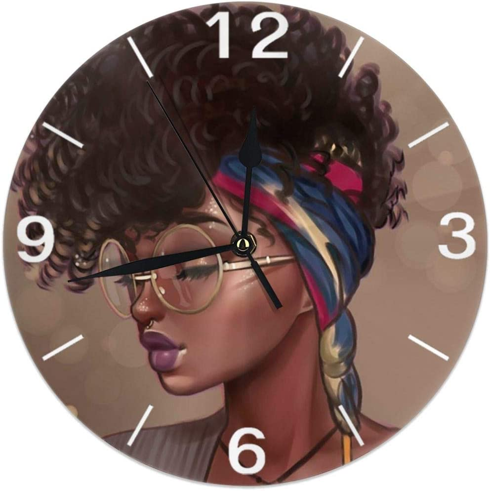 KiuLoam African American Women Round Wall Clock Silent Non Ticking Battery Operated Easy to Read for Student Office School Home Decorative Clock Art