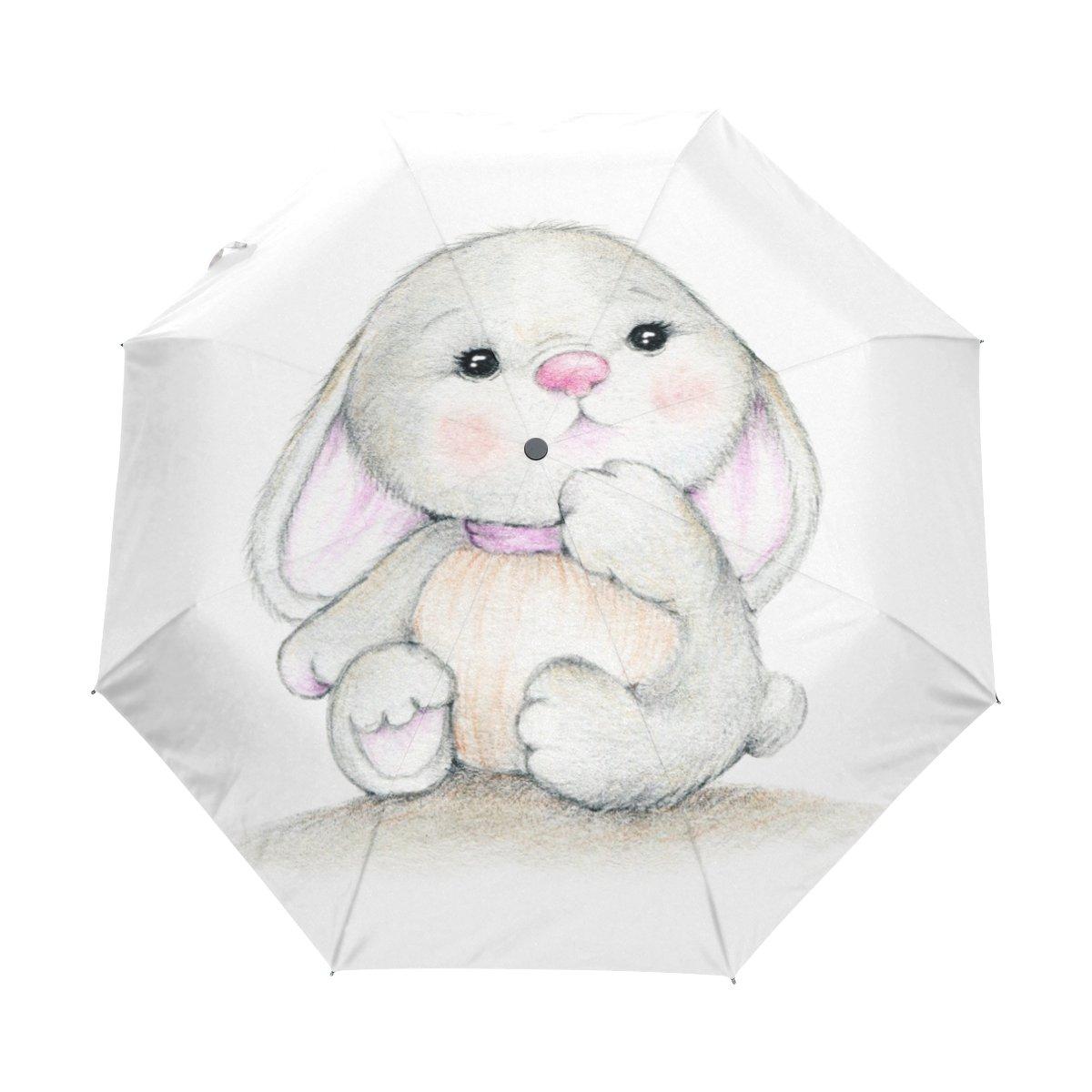 naanle Cute Bunny Rabbit Auto Open Close折りたたみ式耐風トラベル傘 B077R6PTFG