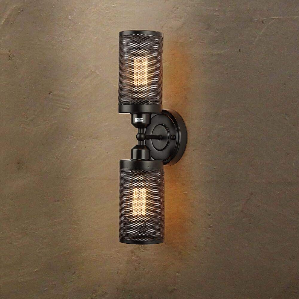 2-Light Vanity Light,Create for Life Industrial Bathroom Lighting Metal Mesh Wall Sconce Edison Wall Lamp Light Fixture for Bathroom Dressing Table Mirror Cabinets Vanity Table