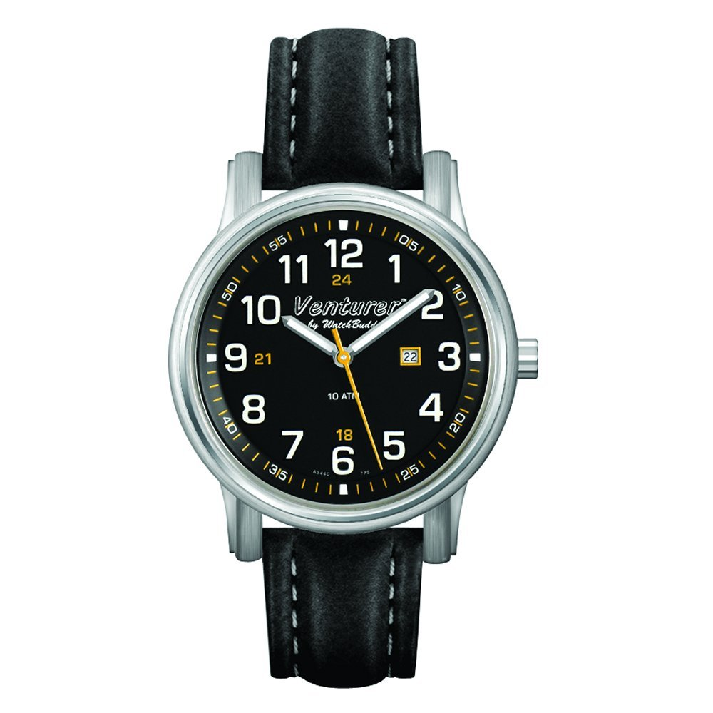 Venturer Sports Watch by WatchBuddy - Space Black Dial with Black Leather Strap - Women's Size