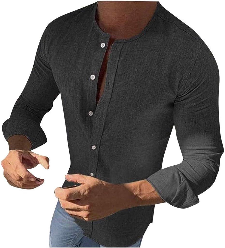 JiaMeng_ZI Ropa de Moda,Color SóLido Cuello Redondo Manga Larga Camisa Delgado Retro Casual Cárdigan T-Shirt Tops Poliéster Transpirable Cómodo Blouse