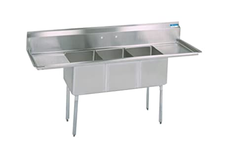 BK Resources Stainless Steel 3 Compartment Sink with Left and Right Hand Drainboards, 84