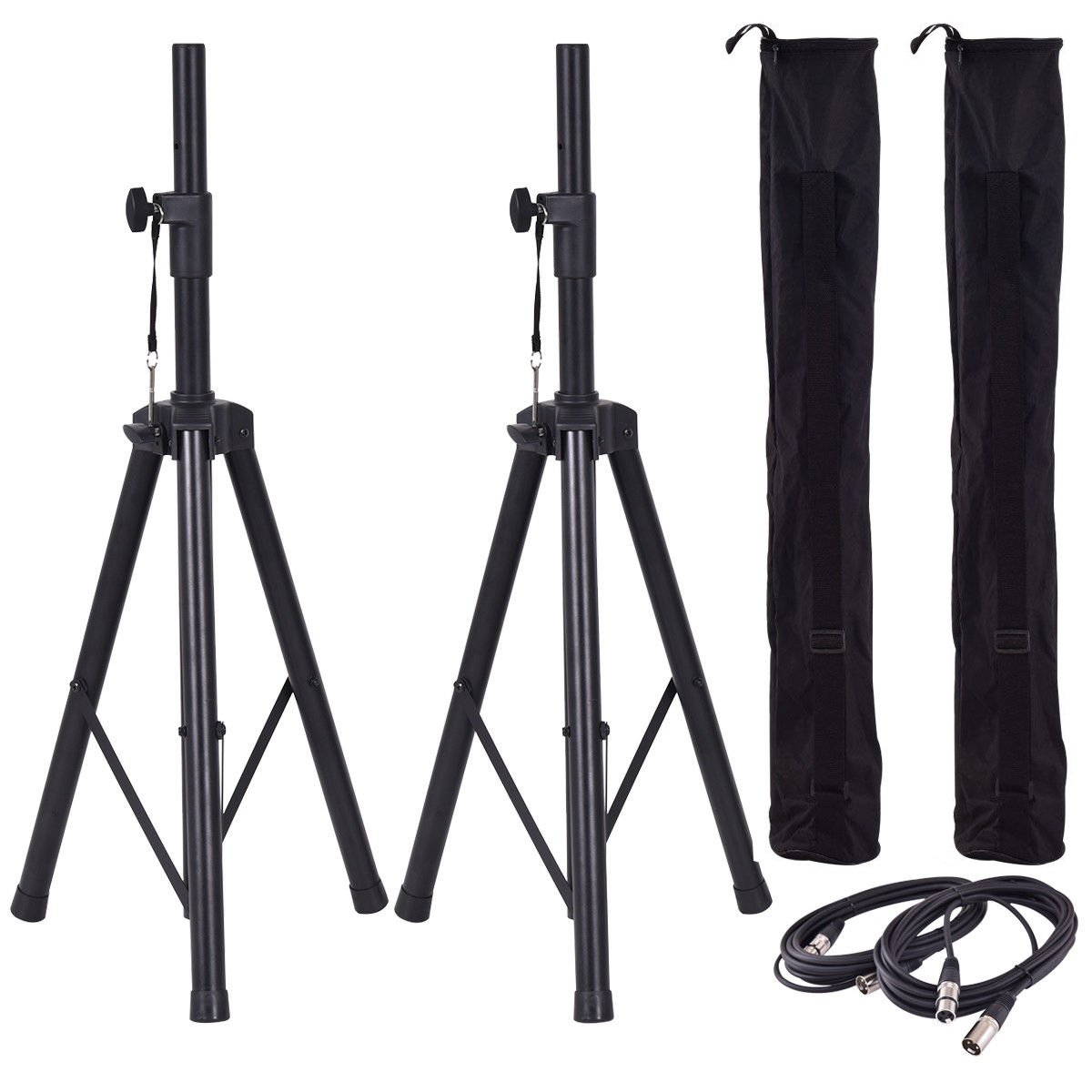 Costzon Height Adjustable Pair of Tripod DJ PA Speaker Stands Adjustable Height Stand w/Carry Bag (37''-74'' + Cables)