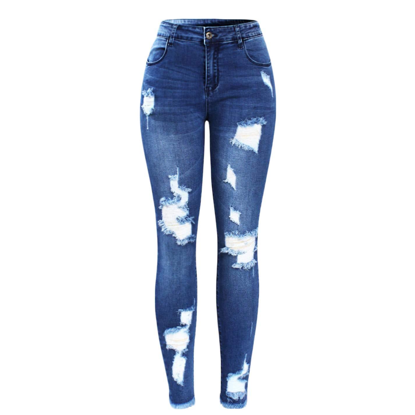 TiGcTRly Women Fashion Ultra Stretchy Blue Tassel Ripped Skinny Jeans
