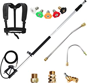 EDOU 4,000 PSI High Pressure Washer Extension Wand Telescoping Lance 6' - 18' 1/4'',Including 5 Nozzle Tips 2 Wands Pivoting Coupler 2 Adapters and Harness
