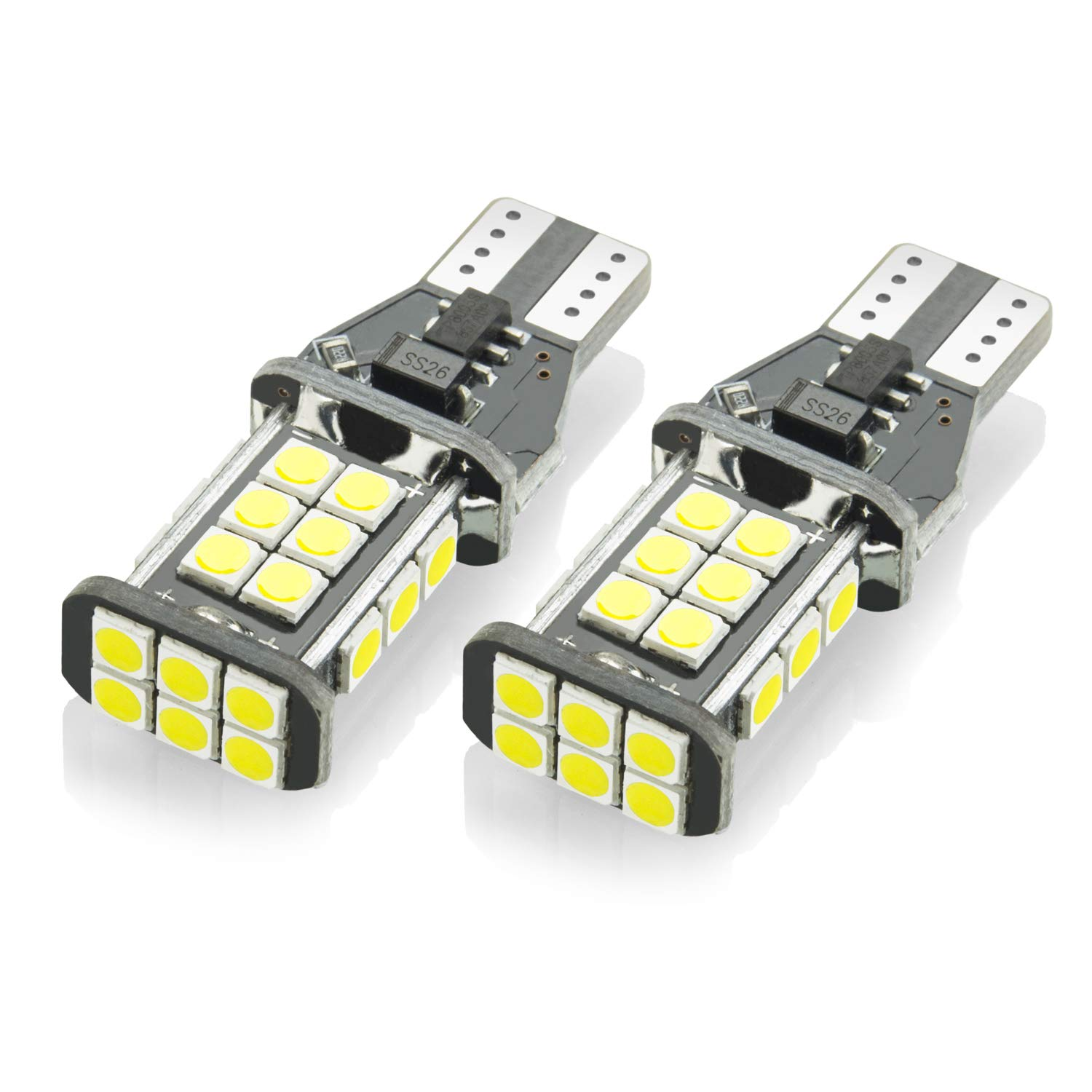 YIJINSHENG 2PCS 1100 lumens Bright Error Canbus Extremely Bright 3030 Chipsets T15 912 W16W 921 LED Bulbs For Backup Reverse Lights 24D Xenon White