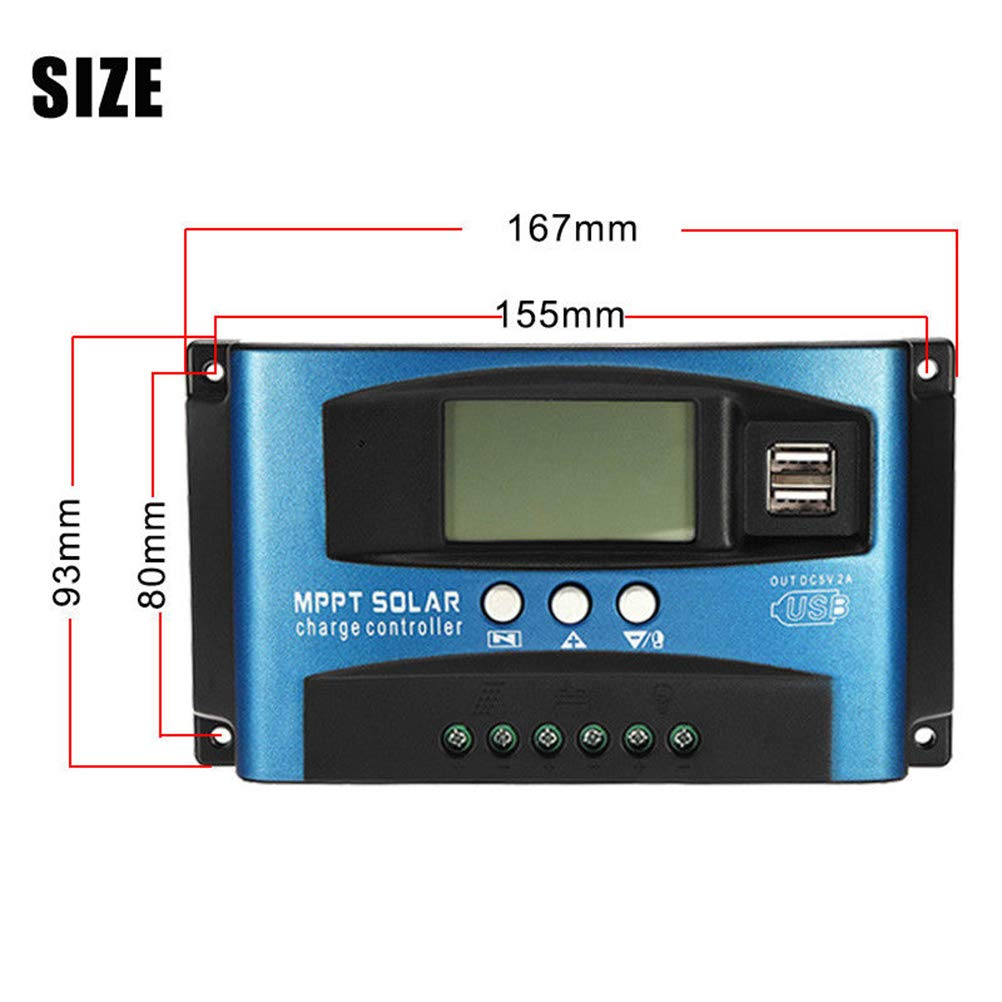 ALEKO SC101 Waterproof Solar Panel Regulator Charge Photovoltaic Controller 12V//24V Auto Detect